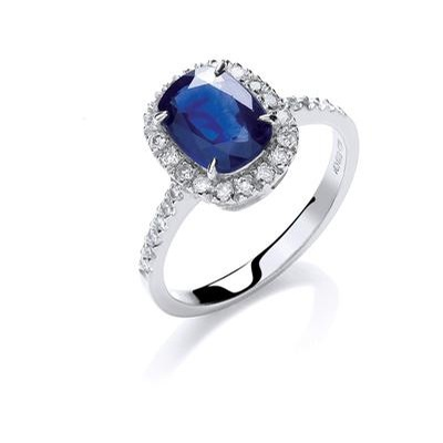 18ct White Gold 0.25ct Diamond 1.75ct 8X6mm Cushion Sapphire Ring