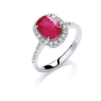18ct White Gold 0.25ct Diamond 1.9ct 8X6mm Cushion Ruby Ring