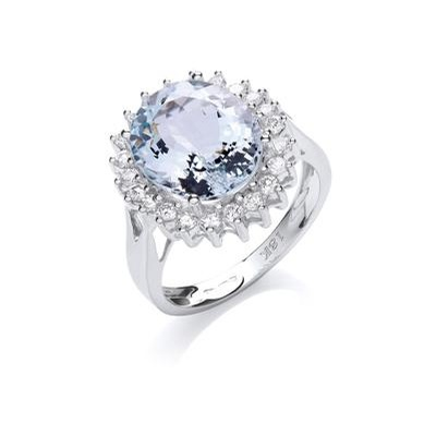 18ct White Gold 0.40ct Diamond & 4.4ct Aquamarine Ring