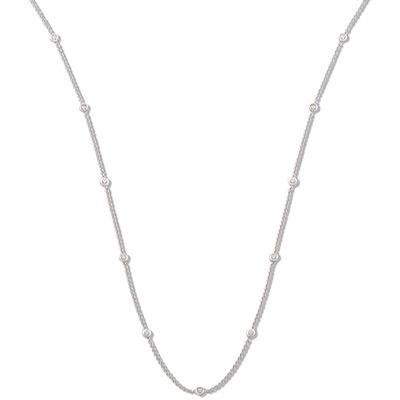 18ct White Gold 0.50ct Rubover Diamond Chain (18inch)
