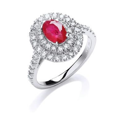 18ct White Gold 0.6ct Diamond 0.9ct 7X5mm Oval Ruby Ring
