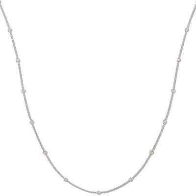 18ct White Gold 1.00ct Rubover Diamond Chain (36inch)
