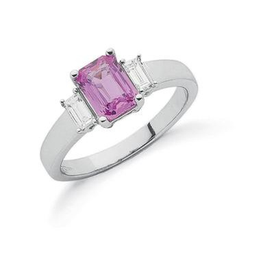 18ct White Gold Baguette Cut Diamond & Pink Sapphire Ring