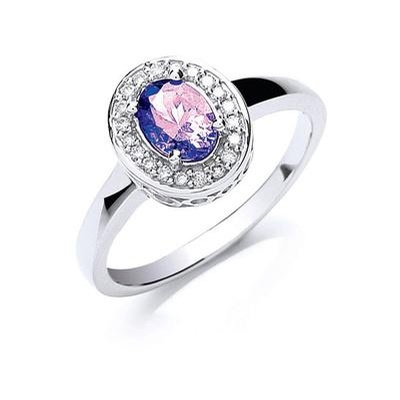 18ct White Gold Diamond & Tanzanite Ring