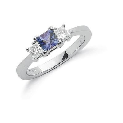 18ct White Gold Princess Cut 0.15ct Diamond & 0.5ct Tanzanite Ring