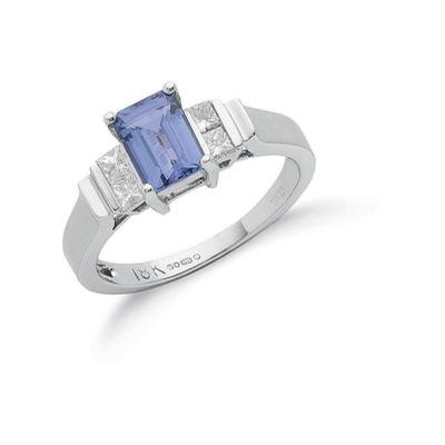 18ct White Gold Princess Cut Diamond & Tanzanite Ring