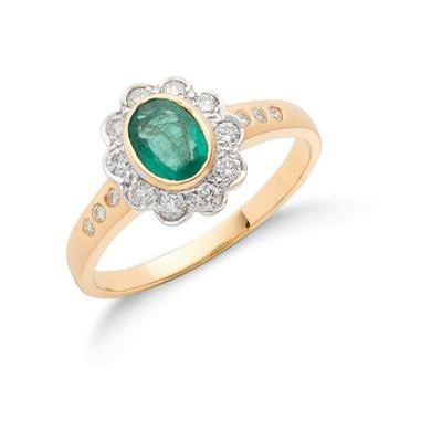 18ct Yellow Gold Diamond & Emerald Cluster Ring
