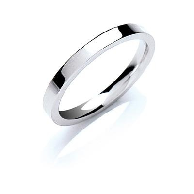 18ct White Gold 2.5mm Flat Court