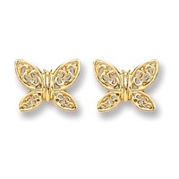 9ct Gold Butterfly Stud
