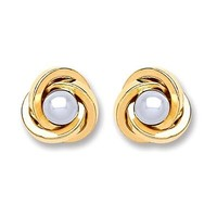 9ct Gold Simulated Pearl Knot Stud