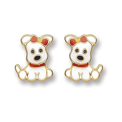 9ct Gold Enameled Puppy Stud