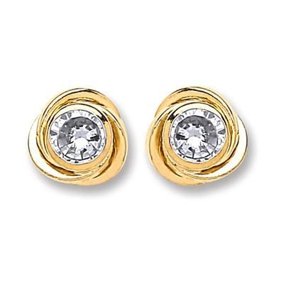9ct Gold Medium Cz Knot Stud