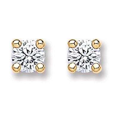 9ct Gold Round Brilliant Cz Stud