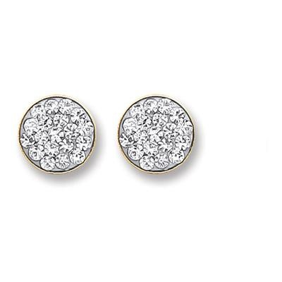 9ct Gold Round Crystals Stud
