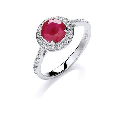 9ct White Gold 0.20ct Diamond 0.65ct 5mm Ruby Ring