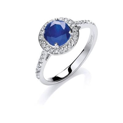 9ct White Gold 0.20ct Diamond 0.65ct 5mm Sapphire Ring