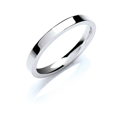 9ct White Gold 2.5mm Flat Court
