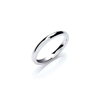 9ct White Gold 2mm Court Wedding Band