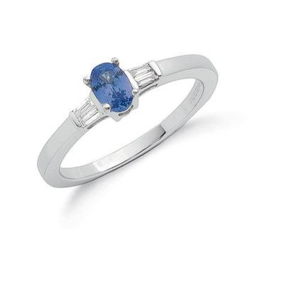 9ct White Gold Baguette Diamond & Tanzanite Ring