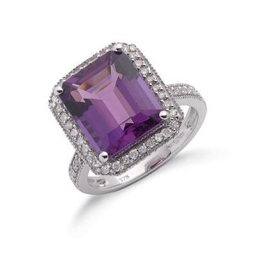 9ct White Gold Diamond & Amethyst Ring
