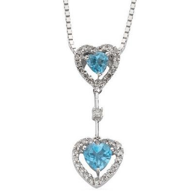 9ct White Gold Diamond & Blue Topaz Heart Drop Pendant with 18inch Chain