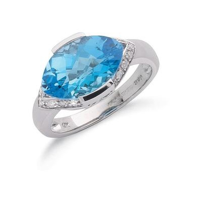 9ct White Gold Diamond & Blue Topaz Ring