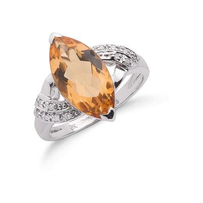 9ct White Gold Diamond & Citrine Ring