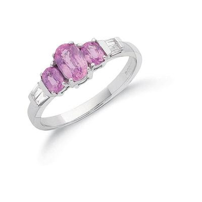 9ct White Gold Diamond & Pink Sapphire Ring