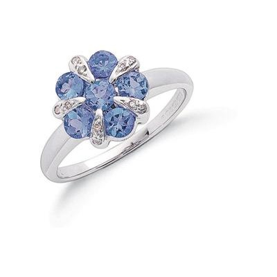 9ct White Gold Diamond & Tanzanite Flower / Cluster Ring