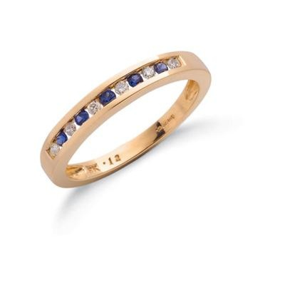 9ct Yellow Gold Diamond & Blue Sapphire Eternity Ring