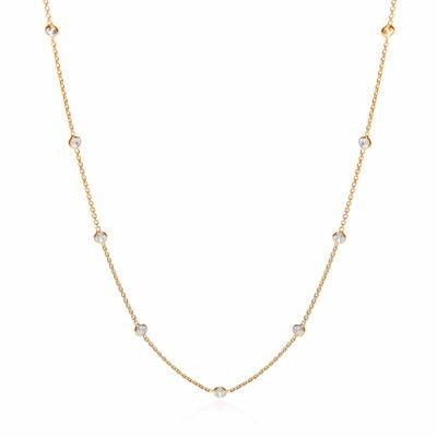 Gold Coated Rubover 11 Cz's Necklace 18