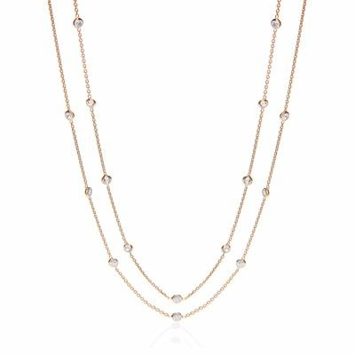 Gold Coated Rubover 23 Cz's Necklace 38