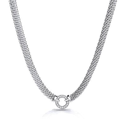 Mesh Necklace with Circle Cz's 17