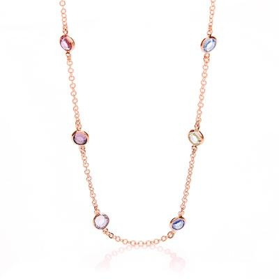 RG Coated Rubover 6 Multi Coloured Cz's Necklace 18