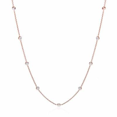 Rose Coated Rubover 11 Cz's Necklace 18