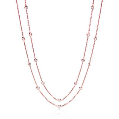 Rose Coated Rubover 23 Cz's Necklace 38
