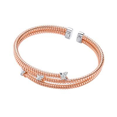 Rose Coated Silver Cz Kiss Bangle