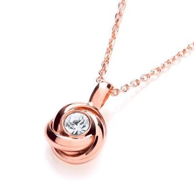 Rose Knot with Cz in the Centre Necklace 17