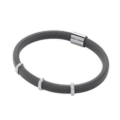 Ruthenium Mangetic Bangle with Three Rows of Cz's