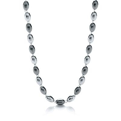 Silver & Ruthenium Oval Bead Necklace 36
