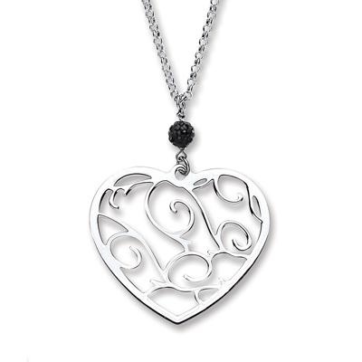 Silver Chain with Fancy Heart Pendant