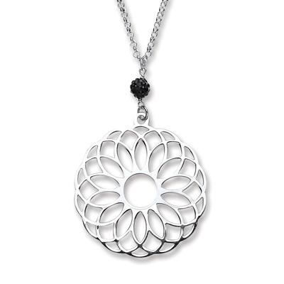 Silver Chain with Fancy Round Pendant