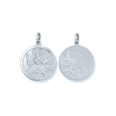 Silver Double Sided St Christopher Pendant