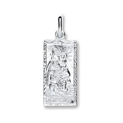 Silver Rectangle St Christopher Pendant