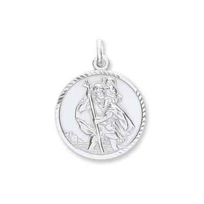 Silver St Christopher Diamond Cut Pendant