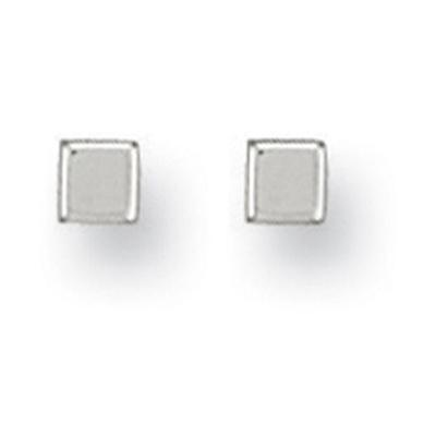White Gold 4mm Square Cube Studs