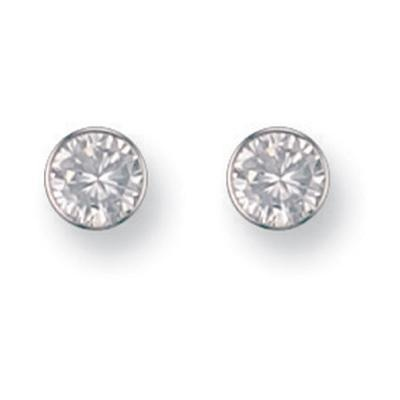 White Gold 6mm Rubover Set Cz Studs