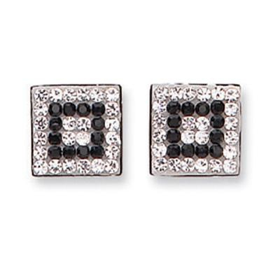 White Gold Black & White Cz Square Studs