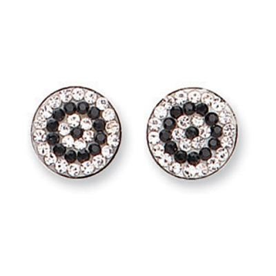 White Gold Black & White Cz Studs