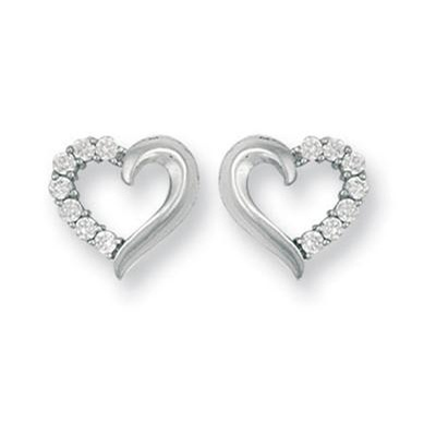 fcdf9d0e2 White Gold Cz Heart Stud Earrings